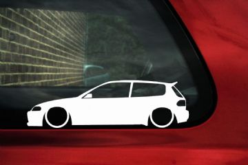 2x LOW Honda Civic EG, VTi, Si, SiR, B16a, Vtec, outline, silhouette stickers, Decals